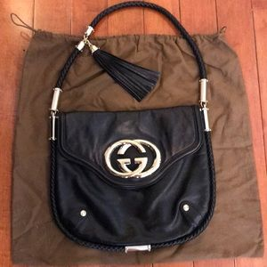 Gucci Black Leather Britt Large Tassel Hobo Bag
